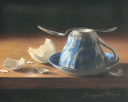 "Deborah Bays""Blue Willow With Antique Spoon"""
